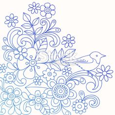 Henna Doodle Flowers and Bird Vector Royalty Free Stock Vector Art Illustration