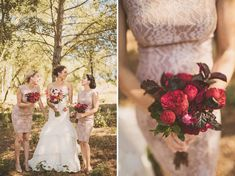 Just looking at the sizes that look perfect and the way they've got the white and pink for the bride to go with her dress. Summer Wedding in Spain: Kelly + Mikey Burgundy Bouquet, Burgundy Wedding, Rustic Red Wedding, Cranberry Wedding, Red Burgundy, Red Bridesmaid Bouquets, Red Bridesmaids, Bridesmaid Dress Colors, Wedding Colors