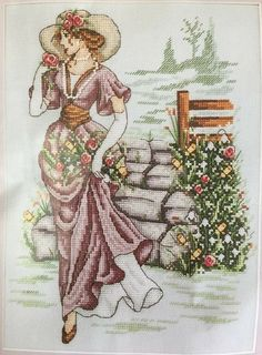Edwardian Garden by Shannon Wasilieff, chart in Cross Stitch Gold issue 138 Cross Stitch Charts, Cross Stitch Designs, Cross Stitch Patterns, Vintage Christmas Cards, Christmas Cross, Hand Embroidery Designs, Embroidery Patterns, Cross Stitching, Cross Stitch Embroidery