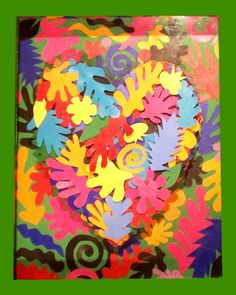 Of Henri Matisse by Robert Quijada Matisse- I like how the organic shapes are layered and organized to form a larger shape.Matisse- I like how the organic shapes are layered and organized to form a larger shape. Henri Matisse, Matisse Kunst, Matisse Art, Group Art Projects, Collaborative Art Projects, School Art Projects, Matisse Pinturas, Arte Elemental, Doodle Drawing