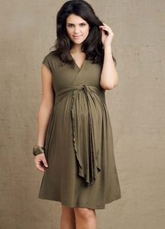 Inspiration: Maternity Pregnant Dress Up  Another dress that could used a modified Surplice pattern. Widen the shoulder bands, use a raw-edge tie for the belt!