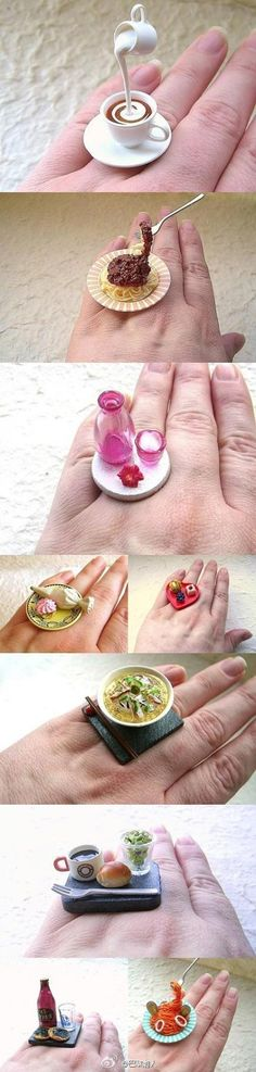 Miniature food rings created by Sofia Molnar