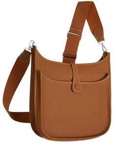 Hermes - Evelyne III, cross body bag in tan brown leather. Back View.