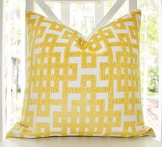 Decorative Designer Pillow - Yellow Geometric Greek Key Trellis Designer Cover - Modern Yellow Throw Pillow via Etsy