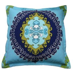 Blue Medallion 24 x 24 Indoor/Outdoor Pillow