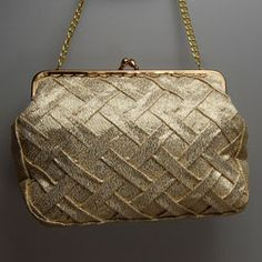 Lovely Gold Vintage Evening Handbag Circa 1960 With Chain Handle