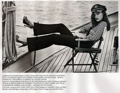 """""""old school"""" nautical outfit photo. Don't you just love the heels? You would NEVER see someone wearing those on a deck on this. - #nautical"""
