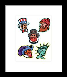 Mascot Framed Print featuring the digital art American And British Mascots Collection by Aloysius Patrimonio Hanging Wire, Retro Fashion, Fine Art America, Digital Art, British, Framed Prints, American, Artwork, Collection