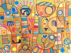 Michèle Brown Artist - The Old Cells Studio: BIG doodling - watercolour, gouache collage and pe...