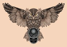 Owl by Romesh-Phoenix on DeviantArt Owl Neck Tattoo, Owl Tattoo Chest, Mens Owl Tattoo, Bird Tattoo Men, Neck Tattoo For Guys, Chest Piece Tattoos, Leg Tattoo Men, Leg Tattoos, Body Art Tattoos