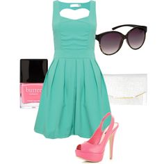 sweetheart cut out dress - LOVE these colors pink and turquoise