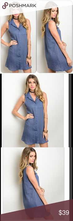 1407b9d7f4189e Chambray Shirt Dress This sleeveless dress features a relaxed fit