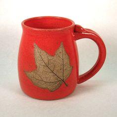 Stoneware Pottery Mug with Leaf by CrookedCreekStudio1