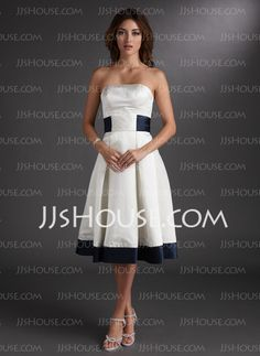 Wedding Dresses - $119.99 - A-Line/Princess Strapless Knee-Length Satin Wedding Dress With Sashes (002000067) http://jjshouse.com/A-Line-Princess-Strapless-Knee-Length-Satin-Wedding-Dress-With-Sashes-002000067-g67