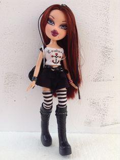Rocker Bratz Doll Outfits, Black Bratz Doll, Brat Doll, Bratz Girls, Doll Makeup, Poppy Parker, Future Clothes, Valley Girls, Doll Repaint