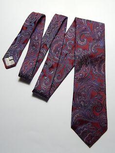 7778cacae0bc John W. Nordstrom Silk USA Wide Maroon Blue Paisley #necktie #vintage  #nordstrom