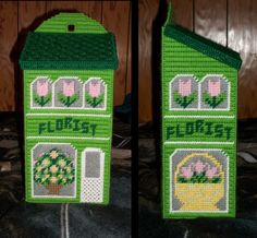 Florist plastic canvas plastic bag holder Plastic Bag Holders, Bag Hanger, Plastic Canvas Patterns, Needlepoint, Chart, Holiday Decor, Projects, House, Bags