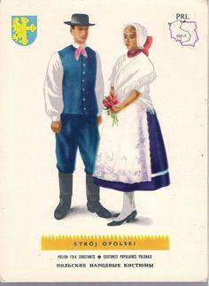 pocztówka STRÓJ OPOLSKI mapka Herb Lata 60