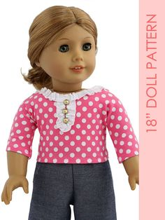 18 inch doll clothes patterns – FREE Retro doll T-shirt pattern - Mode pour enfants Childrens Sewing Patterns, Doll Sewing Patterns, Doll Clothes Patterns, Vintage Sewing Patterns, Clothing Patterns, T Shirt Sewing Pattern, Fabric Doll Pattern, American Doll Clothes, Girl Doll Clothes