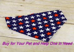 Red White and Blue Over the Collar Dog Bandana, Cat Bandana, Slip Over Collar Bandana, Custom, Pet, Dog Clothes, July 4th, Patriotic by FocusforaCause on Etsy