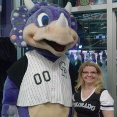 Look who we found cheering on the Colorado Rockies at Coors Field? Our own Cathy Saunar with Dinger, the Colorado Rockies Mascot ‪#‎BeActive‬