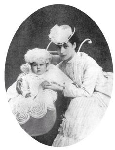 Empress Marie Feodorovna and her son, the future Tsar Nicholas II, as a baby.