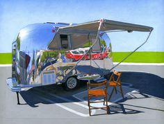 Leah Giberson new series of paintings  Wowed by her ability to make this Airstream look like real metal