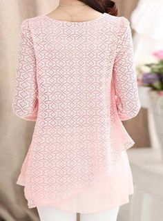 LIGHT PINK Ladylike Scoop Neck Solid Color Lace Splicing Chiffon Long Sleeve Blouse For Women L