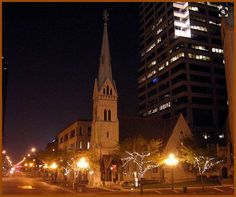 In the novel, Sara gains access to a function hosted by Rocsann Rush by claiming to be a volunteer from the Christ Church Cathedral with is located on Monument Circle. Here is an image of that church at night.