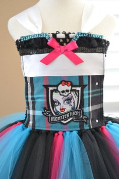 Removable Front Piece Add On - Monster High Frankie Stein Shield - for your Tutu Dress! by 1583Designs