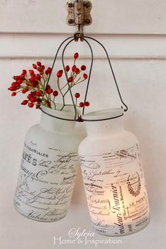 DIY Inspiration Painted jars with French graphics