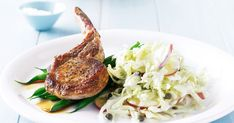 Team pork cutlets with coleslaw and beans to create a fast and family-friendly meal. Pork Cutlet Recipes, Pork Recipes, Cooking Recipes, Healthy Recipes, Salad Dishes, Pork Dishes, Salads, Easy Pasta Recipes, Easy Meals