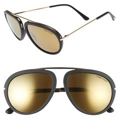 Women's Tom Ford 'stacy' 57Mm Sunglasses ($435) ❤ liked on Polyvore featuring accessories, eyewear, sunglasses, tom ford sunglasses, tom ford, round sunglasses, logo sunglasses and tom ford sunnies