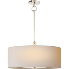Visual Comfort Thomas O'Brien Reed Pendant in Polished Nickel with Natural Paper Shade TOB5011PN-NP
