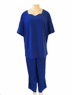 Kensington Square Blue Short Sleeve Blouse and Pant Set Size 20W | eBay