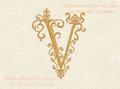 Monogram Letter V vintage 1. In style of French от EmbroideryZone