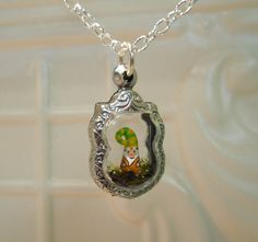 Tiny Terrarium Garden Gnome Pendant by workofwhimsy on Etsy, $25.00