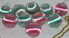 Vintage Blue and Pink Satin Sheen Christmas Tree Ornaments x10 Japan