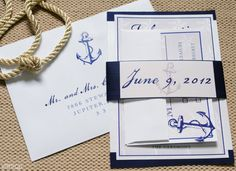 Nautical Anchor Wedding Invitation, Blue and Navy, Wedding Suite