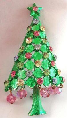 Vintage Mylu Enamel Multi Colored Rhinestone Christmas Tree Pin Xmas