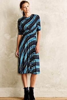 NEW $158 Anthropologie Tracy Reese blue turq black stretch Wintertide Dress M #plentybyTracyReese #stretchsurplicedress #versatile