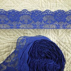 20 YARDS BLUE Flat Lace Sewing Edge Trim Floral Netting