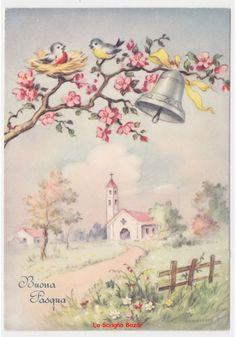 Non ViaggiataTARANTINO cartolina fg Pasqua ramo pesco uccelli campana chiesa