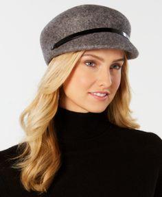 New NWT Nine West Hat Newsboy Cabbie Cap Black Wool Blend Gatsby One Size