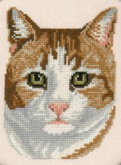 COUNTED X-STITCH CHART WHITE CAT FACE