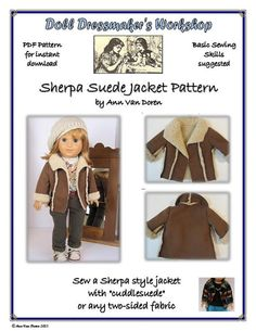 PDF Pattern for Sherpa Style Jacket Designed to fit 18 inch dolls such as American Girl®