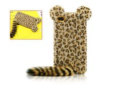 cool Cute IPhone 4 Cases | Cute 3D Plush Tail Leopard TPU Case Cover Skin for iPhone 4 4S Yellow