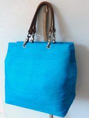 Blue Silk Tote Bag