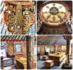 Yurt and art ( Mongol ger) at the Summit, in Ulaanbaatar, Mongolia Yurt Interior, Truck Interior, Mongolian Ger, Pacific Yurts, Yurt Home, Yurt Living, Campaign Furniture, Natural Building, Asian History