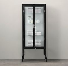 "Pharmacy Tall Bath Cabinet Black DIMENSIONS 28""W x 18""D x 64""H"